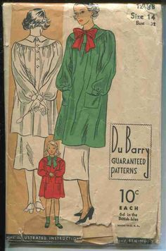 Vintage Sewing Pattern DuBarry # 1248 ERA: 1930s SKU - 70116 -