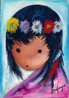 """""""Children––they are all over my canvases. You see these beautiful black eyes looking at you with awe."""" –DeGrazia DeGrazia's """"Rosita"""", oil on canvas, 1975. #TedDeGrazia #Ettore #Ted #DeGrazia #Artist #GalleryInTheSun #ArtGallery #Gallery #NationalHistoricDistrict #Foundation #Nonprofit #Adobe #Architecture #Tucson #Arizona #AZ #SantaCatalinas #Desert #Oil #Painting #Children #Eyes"""