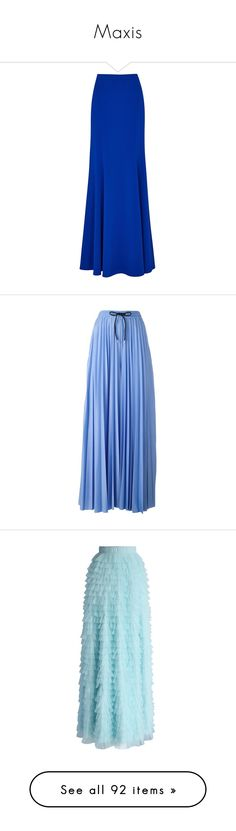 """Maxis"" by klm62 ❤ liked on Polyvore featuring skirts, suits, floor length skirts, long skirts, panel maxi skirt, flare skirt, flared skirt, pants, blue and blue trousers"