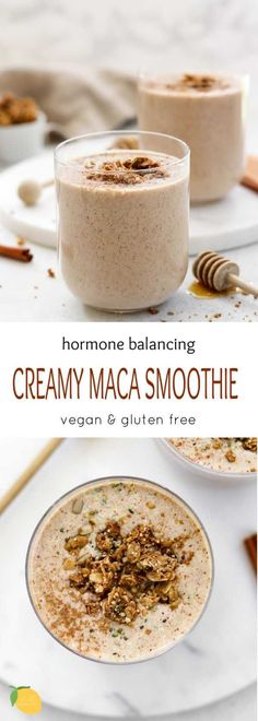 This hormone balancing maca smoothie is a simple recipe to support clear skin and hormone health. Care Skin Condition and Treatment Oil Makeup Vegan Smoothie Recipes, Smoothie Diet, Healthy Smoothies, Healthy Drinks, Vegan Recipes, Health Recipes, Healthy Eats, Snack Recipes, Dinner Recipes