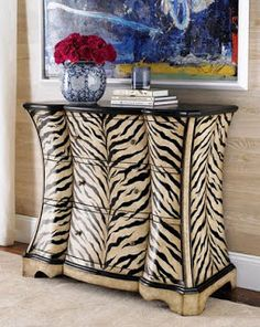my zebra! Animal print and furniture re-do. French Madame: FurnitureOh my zebra! Animal print and furniture re-do. Animal Print Furniture, Animal Print Decor, Animal Prints, Funky Furniture, Furniture Makeover, Painted Furniture, Furniture Ideas, Furniture Design, Safari Room