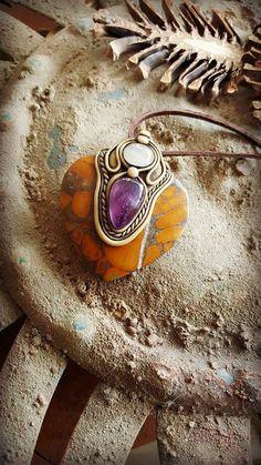 Amethyst Jasper Moonstone Clay healing crystal pendant Handmade Mystic jewelry
