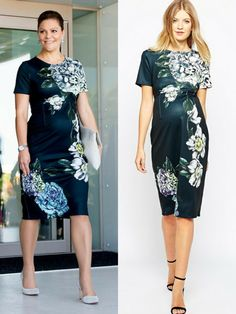 Get Crown Princess Victoria's chic maternity look with this ASOS Maternity Premium Placed Floral Scuba Midi Body-Conscious Dress