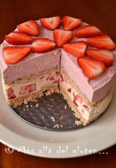 Más allá del gluten...: Torta con Fresas sin Hornear (Receta SCD, GFCFSG, Vegana, RAW)