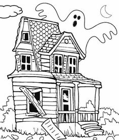 Printable Haunted House Coloring Pages House Colouring Pages Haunted House Drawing Halloween Coloring Pages