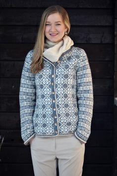 Ravelry: Delft Royal Jacket pattern by Sidsel J. Fair Isle Knitting Patterns, Fair Isle Pattern, Jacket Pattern, Delft, Knit Cardigan, Hooded Jacket, Knitwear, Knit Crochet, Sweaters