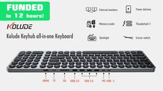 Klu is raising funds for Kolude Keyhub all-in-one Keyboard on Kickstarter! The aluminum scissor-switch keyboard with rich ports and connections that's built to last and improve work and gaming experiences Keyboard Language, Cool Gadgets, Computer Keyboard, All In One, Apple Bite, Usb, Computer Keypad, Keyboard, Cool Tech Gadgets