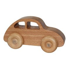 Houten speelgoed auto kever blank
