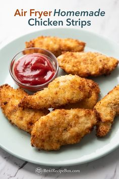 Air Fried Chicken Tenders Recipe or Strips are crispy and easy! Wow, learn how to cook air fryer chicken strips for best appetizers on game day super bowl Homemade Chicken Strips, Fried Chicken Strips, Chicken Strip Recipes, Chicken Tender Recipes, Best Fried Chicken Recipe, Shredded Chicken Recipes, Grilled Chicken Recipes, Keto Chicken, Rotisserie Chicken