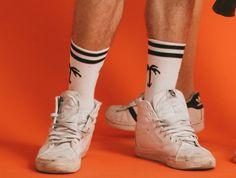 Palm tree sports socks.