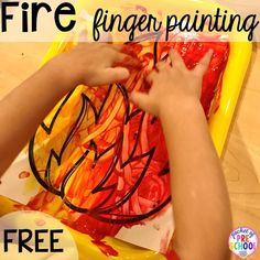 Fire finger painting! Community Helper themed activities and centers for preschool, pre-k, and kindergarten.