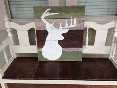Reclaimed Wood distressed multiple colors hand painted deer silhouette sign hunting/camo theme room on Etsy, $150.00
