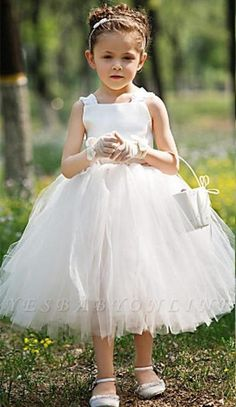 Puffy Tulle Flower Girls Dress Spaghetti First Communion Dresses Sleeveless Birthday Party Dresses White Bows Girls Gowns sold by FashionOk. Shop more products from FashionOk on Storenvy, the home of independent small businesses all over the world. Cute Flower Girl Dresses, Tulle Flower Girl, Tulle Flowers, Baby Flower, Girls Dresses Online, Gowns For Girls, Dress Online, Spaghetti, First Communion Dresses
