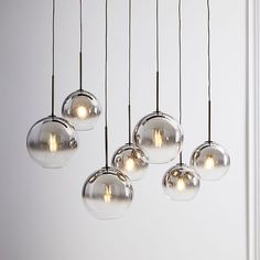 Sculptural Glass Linear Chandelier, S-M Globe, Silver Ombre Shade, Bronze Canopy at West Elm West Elm Chandelier, Bathroom Chandelier, 3 Light Chandelier, Globe Chandelier, Linear Chandelier, Dining Room Lighting, Kitchen Lighting, Home Lighting, Lighting Design