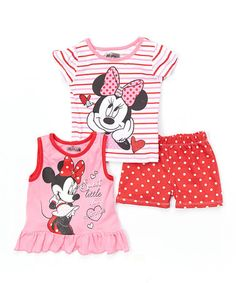 Loving this Pink & Red Minnie Mouse Short Set on #zulily! #zulilyfinds