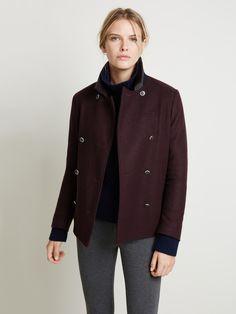 Ellen's signature wool blend pea coat.