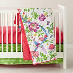 The Land of Nod   Crib Skirts: Green and Pink Crib Skirts in Crib Skirts