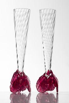 Ruze Champagne glass by Borek Sipek at the Hans Krug showroom in Charlotte, NC.