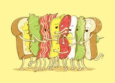 Because when you think about it, sandwiches are nothing but group hugs. Group Hug is an illustration, and hopefully an eventual Threadless tee, by temyongsky. Funny Illustration, Food Illustrations, Sketch Manga, Funny Doodles, Cute Puns, Humor Grafico, Cute Comics, Cute Cartoon, Cute Drawings
