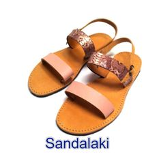 Handmade greek leather sandals, in nude+snake print ,S/S14 Visit us on facebook:#sandalaki  #sandalaki #handmade_leather_ sandals #SS14