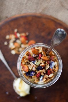 Home made organic granola recipe (w/edible flower petals)
