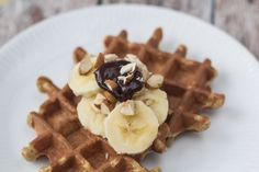 Recipe for healthy banana waffles. The waffles are healthy and very filling - great as a breakfast meal. Serve with chopped almonds and banana slices.