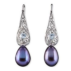 Blue Topaz Peacock Pearl Earrings by Lenox $100.00