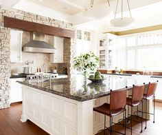 """I can mot stand a dark kitchen, yet this will still give an """"outdoorsy look. White kitchen cabinets and walls with dark countertops and flooring. Open Plan Kitchen, New Kitchen, Kitchen Dining, Kitchen Cabinets, White Cabinets, Kitchen Backsplash, Square Kitchen, Kitchen Interior, Kitchen Stone Wall"""