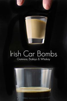These shots, commonly known as Irish Car Bombs, has Guiness Stout, Bailey's Irish Cream and Irish Whiskey