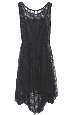 Black Sleeveless Embroidery Lace High Low Dress