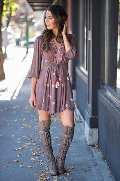 Life Is a Honeymoon 3/4 Sleeve Embroidered Babydoll Dress (Mocha)