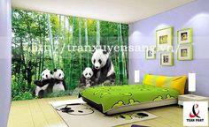 Vách xuyên sáng phòng ngủ in hình ảnh gia đình gấu trúc