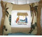 Paradise Found Throw Pillow. Beautiful accent pillow. Raffia trim on two sides.