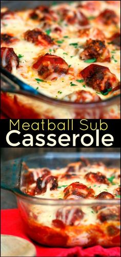 This Meatball Sub Casserole is a comforting, down home twist on everyone's favorite sub!  Using the croutons for the breading, keeps it from getting soggy AND the secret to it's AMAZING taste is the decadent, rich and creamy cheese sauce.  This is one of our all time favorite casseroles.  My family can't get enough!