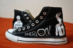 Sherlock Handpainted Converse Shoes by RahulMistry on Etsy Converse Sneakers, Converse All Star, Converse Chuck Taylor, High Top Sneakers, Painted Canvas Shoes, Painted Jeans, Hand Painted, Shoe Art, Sherlock Holmes