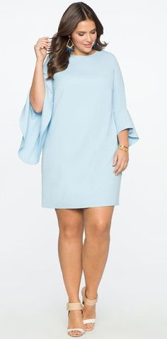 Plus Size Flounce Sleeve Shift Dress
