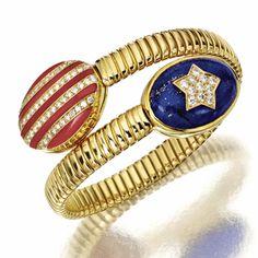 Gold, Coral, Lapis Lazuli and Diamond Cuff Bracelet by Bulgari