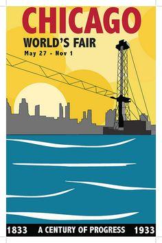 Chicago World's Fair vintage poster - work in progress   Flickr - Photo Sharing!