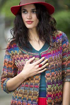 Libre Crochet Patrón: Unique - Choice Colorido Moderno Cardigan de Vanna