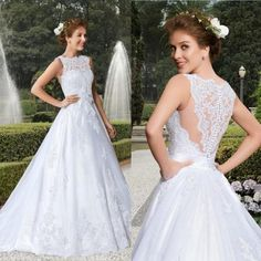 2015 New Arrival Vestidos De Noiva Sexy Illusion Jewel Neck A-Line Wedding Dresses Beaded Vintage Applique Button Tulle Bridal Gowns Online with $112.82/Piece on Hjklp88's Store