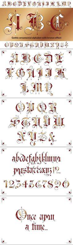 ABC - Kalligraphie Gothic ornamental alphabet A Calligraphy Fonts Alphabet, Tattoo Fonts Alphabet, Tattoo Lettering Fonts, Hand Lettering Alphabet, Graffiti Lettering, Typography Fonts, Caligraphy, Lettering Guide, Penmanship