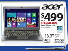 "Buy Acer Ultrabook Silver 13.3"" S3-391-6046 PC with Intel Core i3-2367 Processor and Windows 8 Operating System only $499 [Walmart Black Friday 2012 Deals - Specs, Price and Review]"