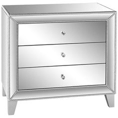 Liza 3-Drawer Mirrored Accent Table