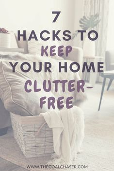 Have you been making some great headway in your decluttering efforts? Only for the clutter to start creeping its way around your home again? Here are 7 easy hacks to help you KEEP your home clutter-free! Konmari, Getting Rid Of Clutter, Getting Organized, Organizing Your Home, Organization Hacks, Organising, Organizing Tips, Decluttering Ideas, Clutter Free Home