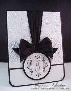 handmade monogram card ... formal look ... luv the ribbon treatment with one huge bow ...