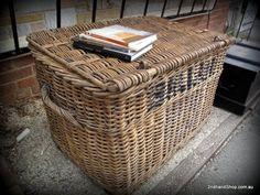 Large Antique Travelling Cane Railways Trunk Ballan Basket Table