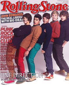 One Direction on the cover of the March 2012 issue of Rolling Stones magazine