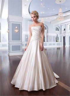 Classic A-line strapless court train Ivory Wedding Dresses MSDP0010