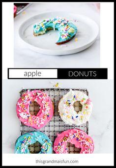 Apple Donuts - TGIF - This Grandma is Fun Easy No Bake Desserts, Fun Desserts, Delicious Desserts, Strawberry Swirl Cheesecake, Cheesecake Strawberries, Strawberry Sauce, Apple Recipes, Snack Recipes, Fall Recipes
