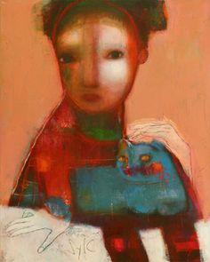 "SYLC - ""Faire ronronner le chat bleu..."" - Mixed media on canvas  81 x 65 cm - 31.9 x 25.6"""